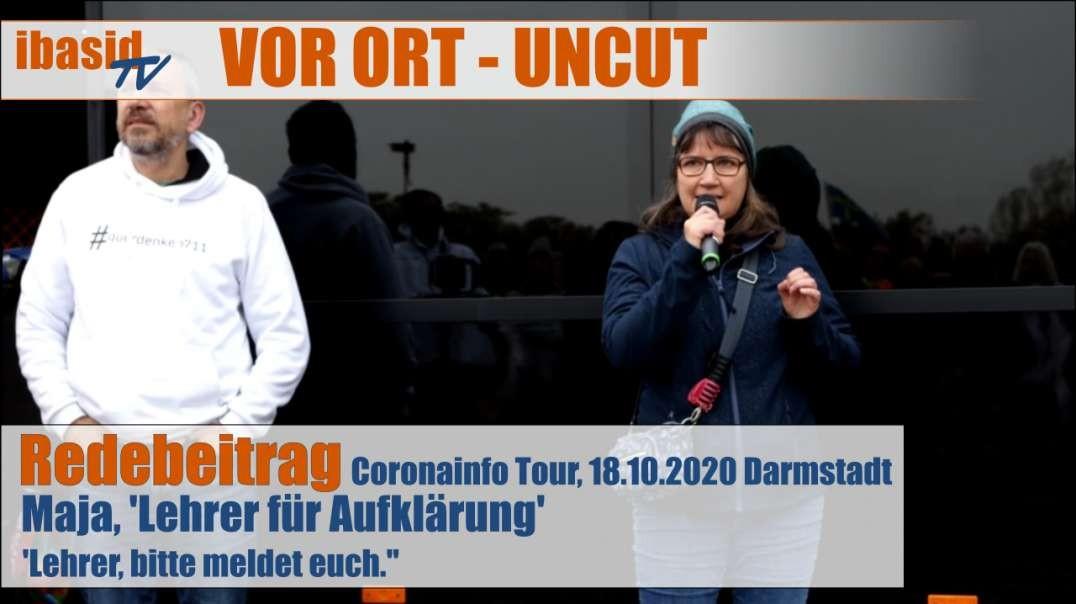VOR ORT - Redebeitrag: Maja Lehrer für Aufklärung - Bitte meldet euch, 18.10.2020 in Darmstadt