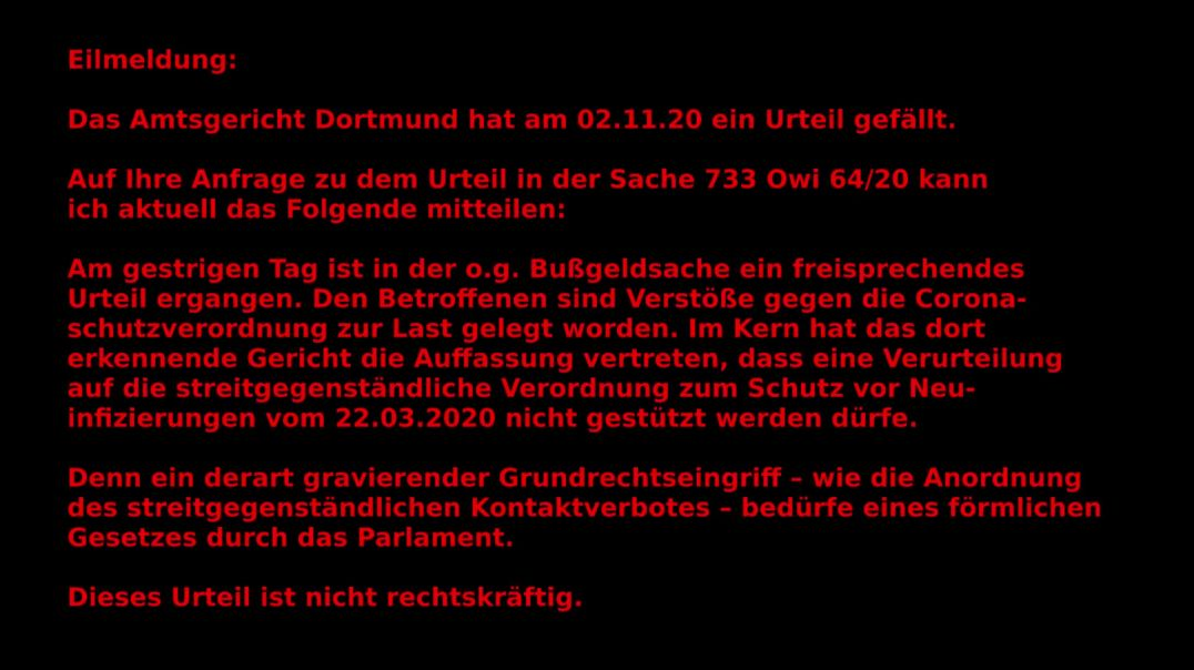 Eilmeldung 03.11.20 und UPDATE in Videobeschreibung