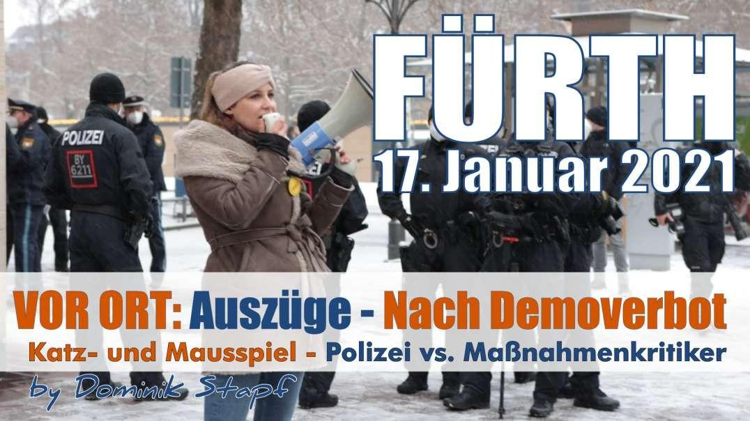 VOR ORT: Auszüge - 17.01.2021 Fürth: Demokratie? Katz und Mausspiel nach Demoverbot
