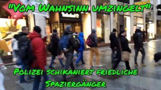 """""""VOM WAHNSINN UMZINGELT"""" - Polizei schikaniert friedliche Spaziergänger in Wien am 30. Jän"""
