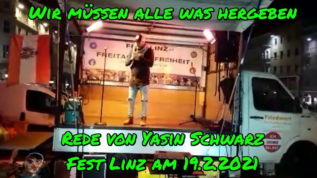 WIR MÜSSEN ALLE WAS HERGEBEN: Rede von Yasin am 19.2.2021/Fest Linz