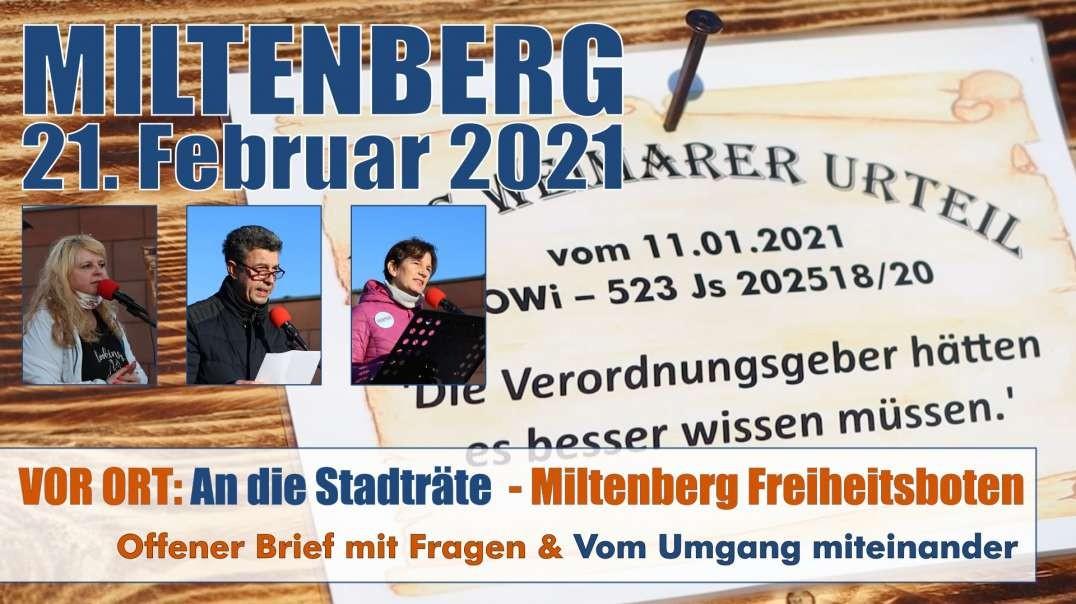 VOR ORT: Auszüge - 21.02.2021 Freiheitsboten Kundgebung - offener Brief an den Stadtrat - vom Umgang
