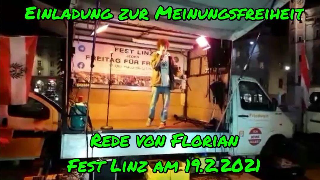 EINLADUNG ZUR MEINUNGSFREIHEIT: Rede von Florian am 19.2.2021/Fest Linz