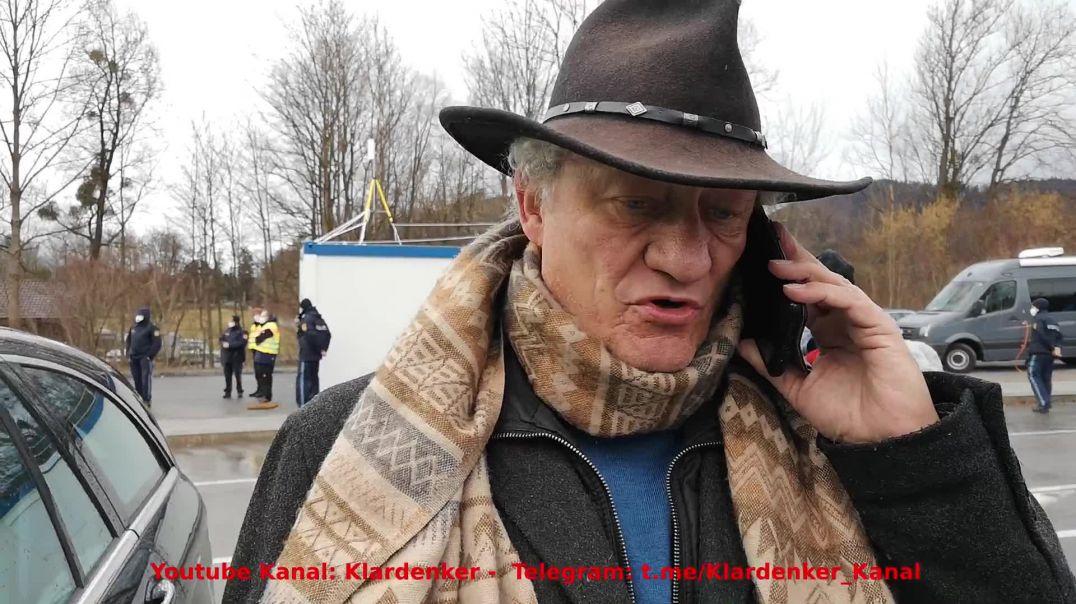 Karl Hilz nach seiner Festnahme - Handyübertragung von Grenzstation Demo Oberaudorf 14.03.21