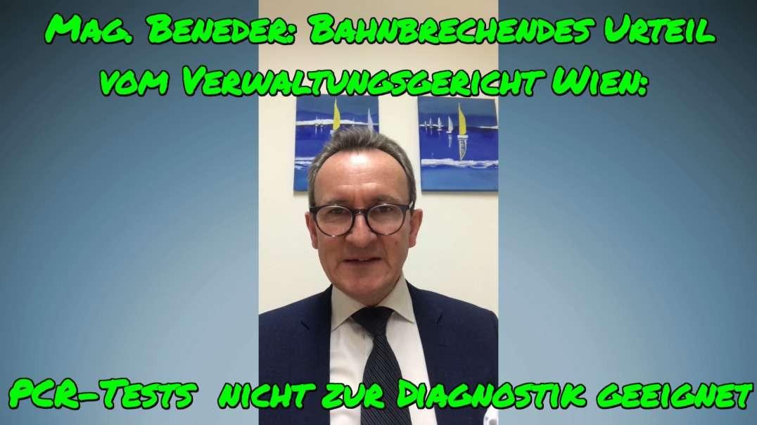 Mag. Beneder: Urteil vom Verwaltungsgericht Wien - PCR-Tests für Diagnostik ungeeignet