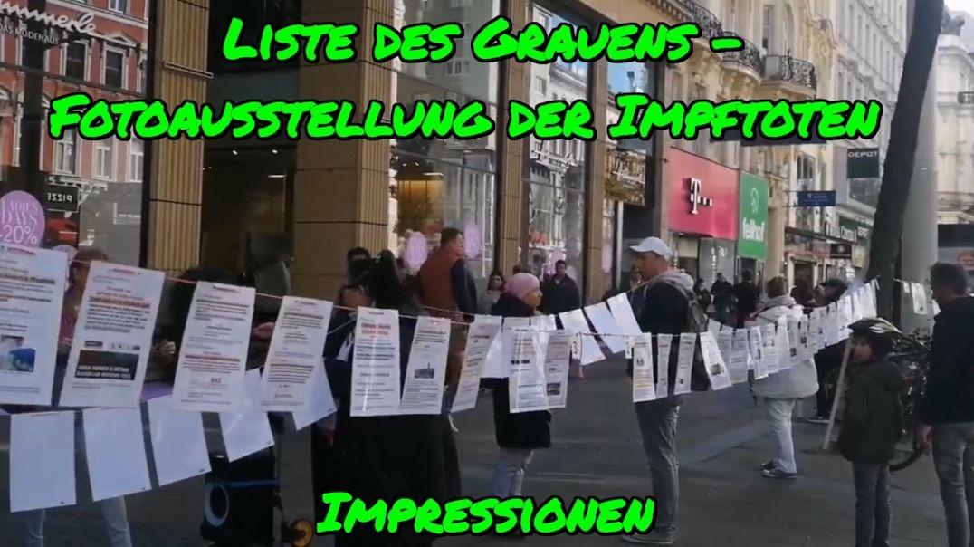 LISTE DES GRAUENS - Fotoausstellung der Impftoten in Wien am 16. Oktober 2021